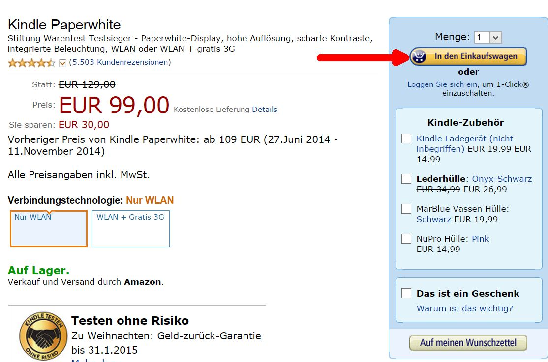 Kindle Paperwhite w koszyku amazon.de