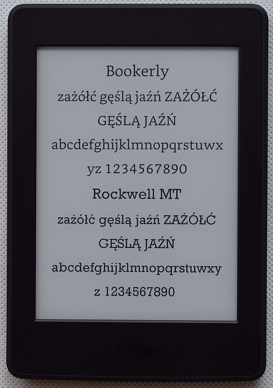 Czcionka Bookerly w Kindle Paperwhite 3