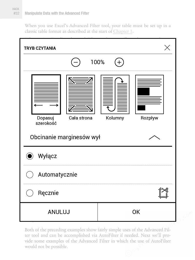 PocketBook InkPad 2 - menu przystosowania plików PDF