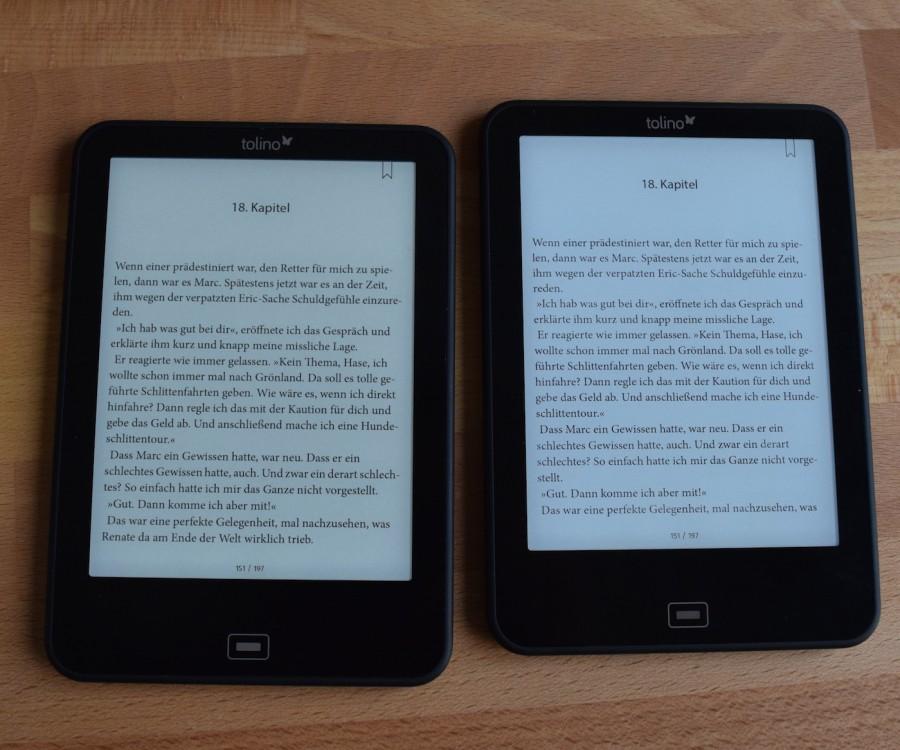 Oświetlenie na 100% w Tolino Vision 3 HD po prawej a po lewej Tolino Vision 2 (źródło: lesen.net)