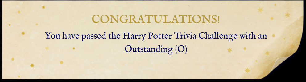 Harry Potter Trivia Challenge Result
