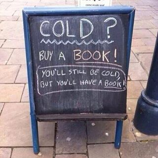 This is for those of you celebrating a cold (I'm assuming) Thanksgiving.  Happy Thanksgiving and I hope you got lots of books.