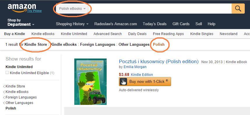 Polski dział w Amazon Kindle Store