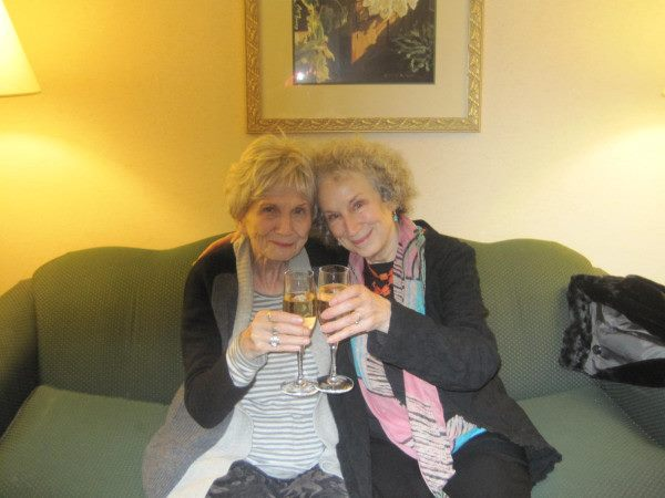 Margaret Atwood and Alice Munro celebrating Munro's Nobel win.