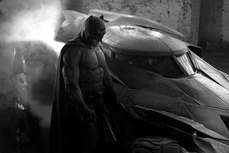 Batfleck with the new Batmobile