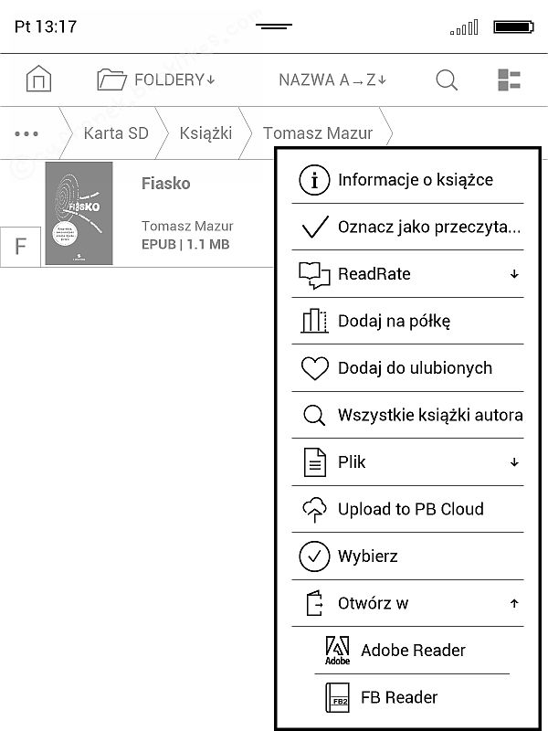 PocketBook InkPad 2 ma dw aprogramy do otwierania EPUBów - Adobe Reader i FB Reader