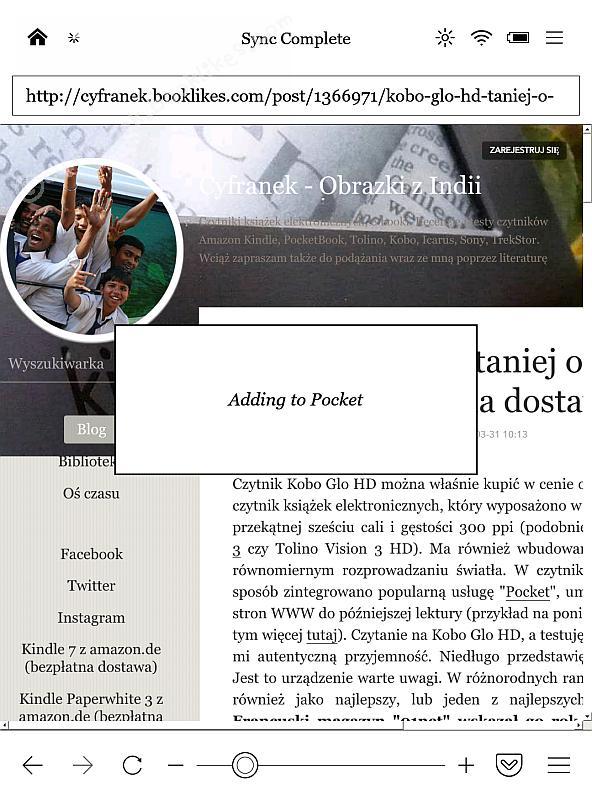 Przeglądarka WWW w Kobo Glo HD obsługuje Pocket