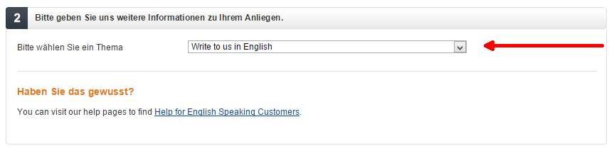 Kontakt po angielsku z niemieckim Amazonem