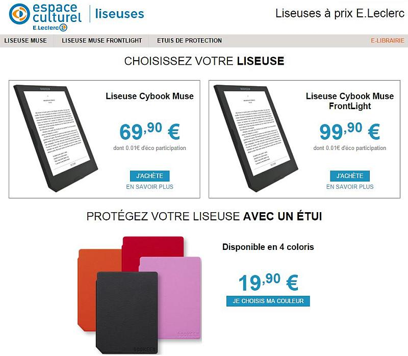 Cybook Muse Frontlight jest firmowym czytnikiem sieci E.Leclerc