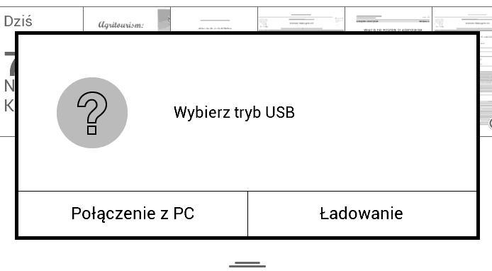 Menu wyboru połączenia USB w PocketBook Touch Lux 2