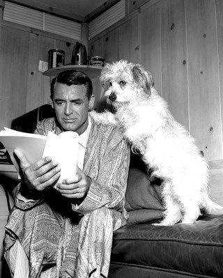 Reading...  Cary Grant and his dog.