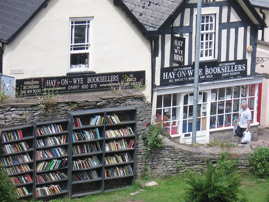 Hay-on-Wye, on the border of England and Wales, home of the largest secondhand bookstore in the world.