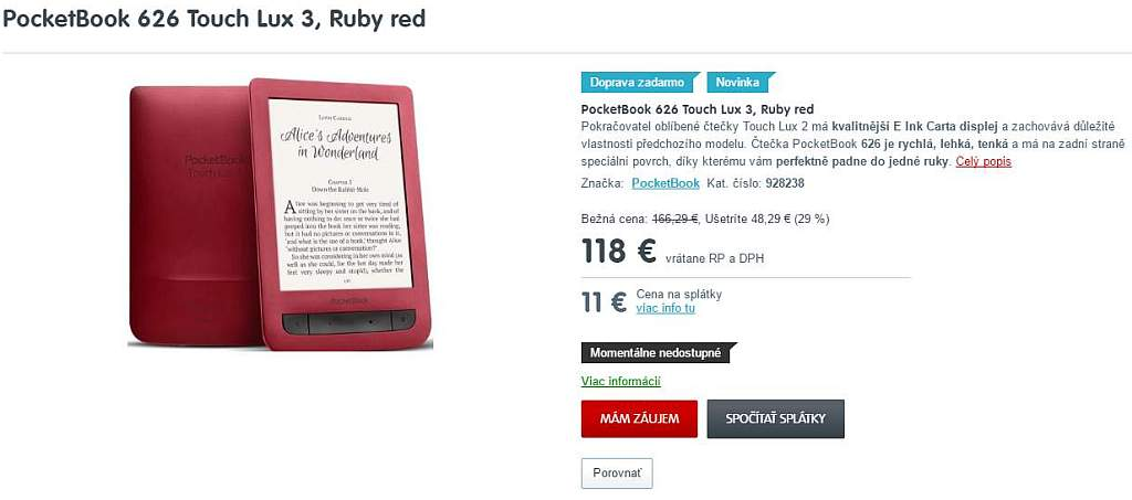 PocketBook Touch Lux 3 Ruby Red w mall.sk