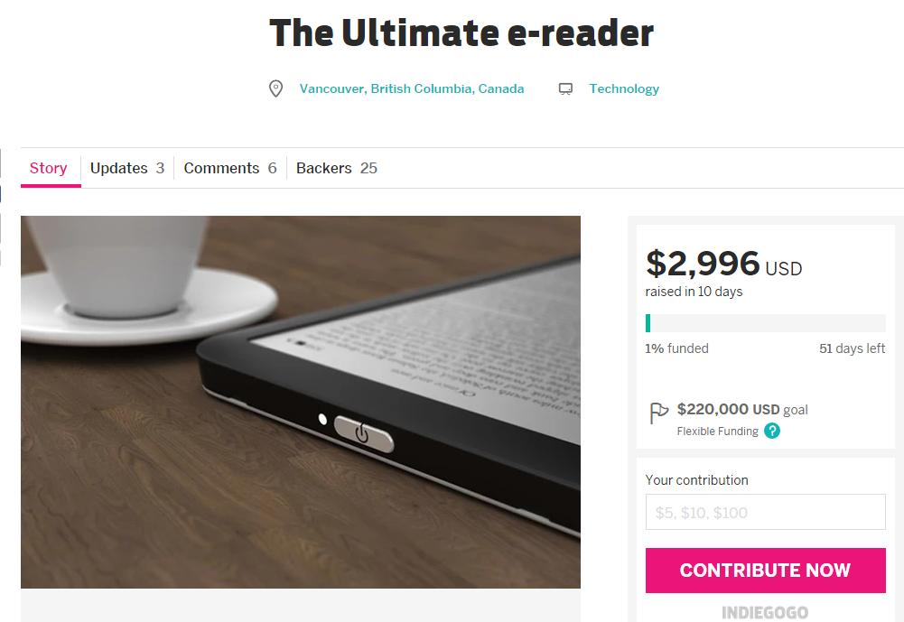 The Ultimate E-Reader w Indiegogo