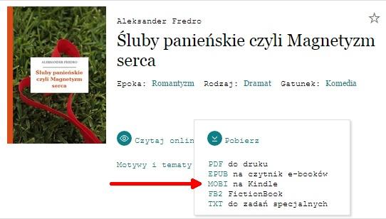 Książki w formacie MOBI dla czytników Kindle w wolnelektury.pl