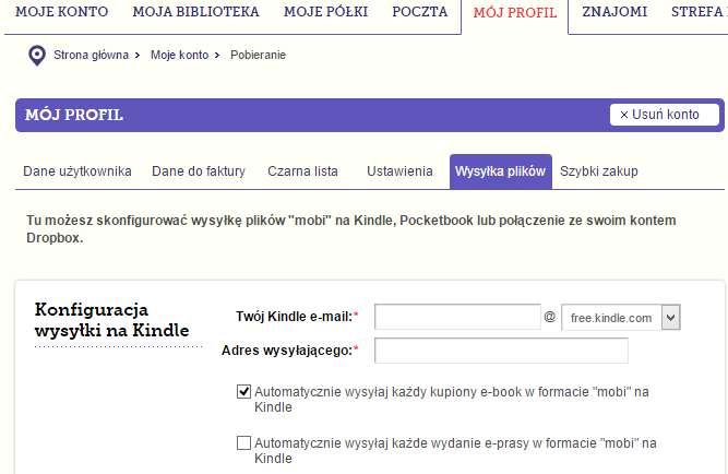 Opcje wysyłki e-booków na Kindle z publio.pl