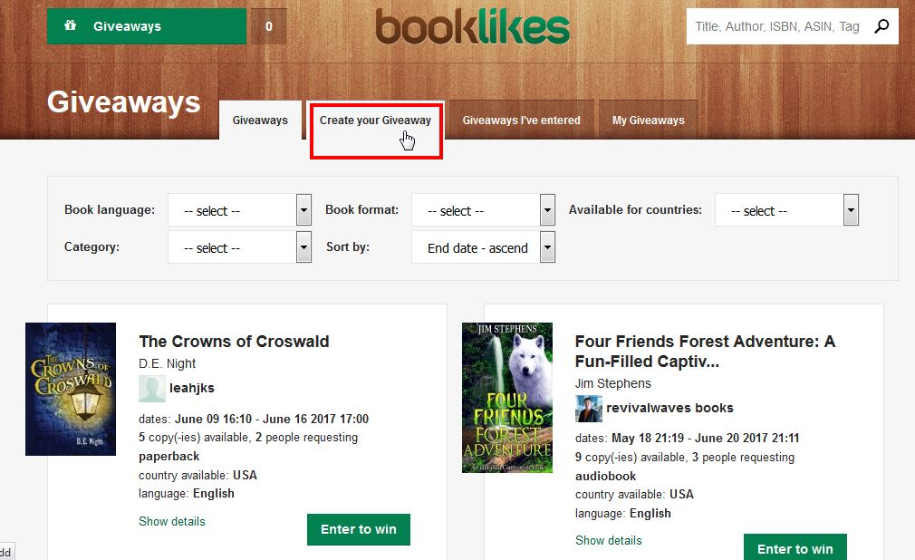 Giveaways: win free books and give your titles away - BookLikes