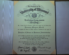 This is a picture of my college diploma; from the University of Missouri in Saint Louis; I received a Bachelor of Science in Business Administration with an emphasis in Marketing and a Minor in Art History, in August of 1988. From Rosemary Margaret Myers Mrazik Cobb, aged fifty-two years old; Monday, September 3, 2018.