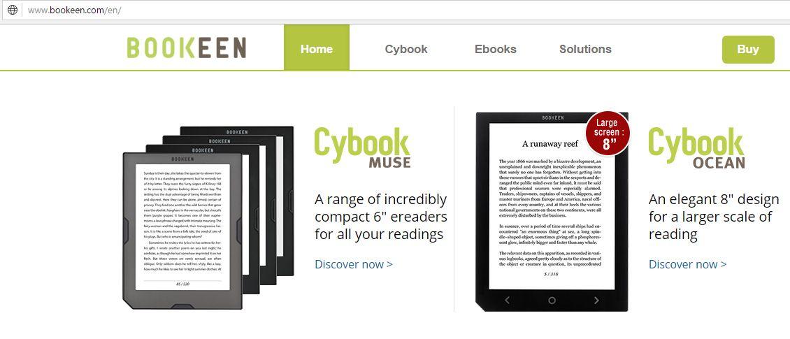 Strona WWW firmy Bookeen