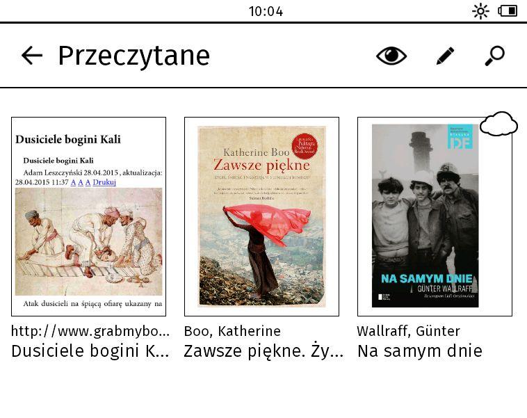 W Tolino Vision 2 można grupować e-booki w kolekcje