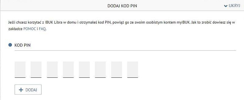 IBUK Libra - potrzebny kod PIN