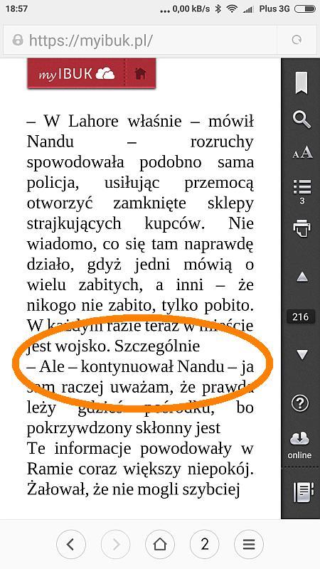 myIBUK - błędnie wyświetlany tekst e-booka