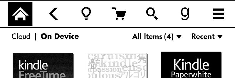 Menu na głównym ekranie Kindle Paperwhite 3