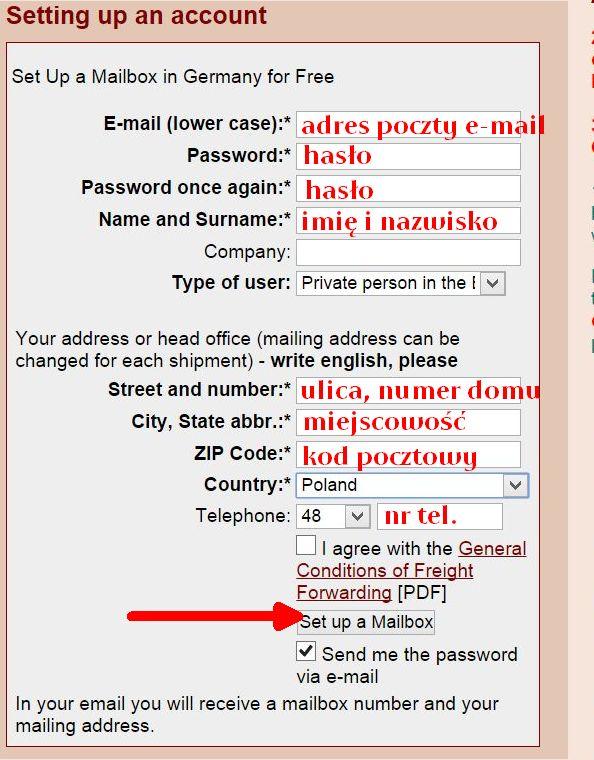 Rejestracja konta w mailboxde.com