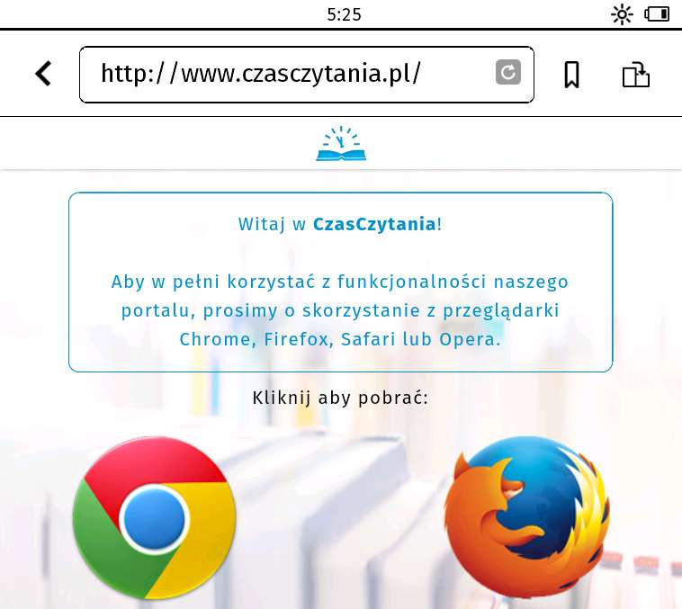 Strona czasczytania.pl w przeglądarce internetowej na Tolino Vision 2