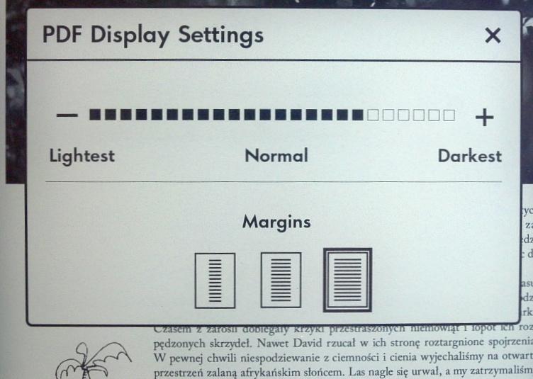 Regulacja nasycenia przy wyświetlaniu pliku PDF w Kindle Paperwhite 3