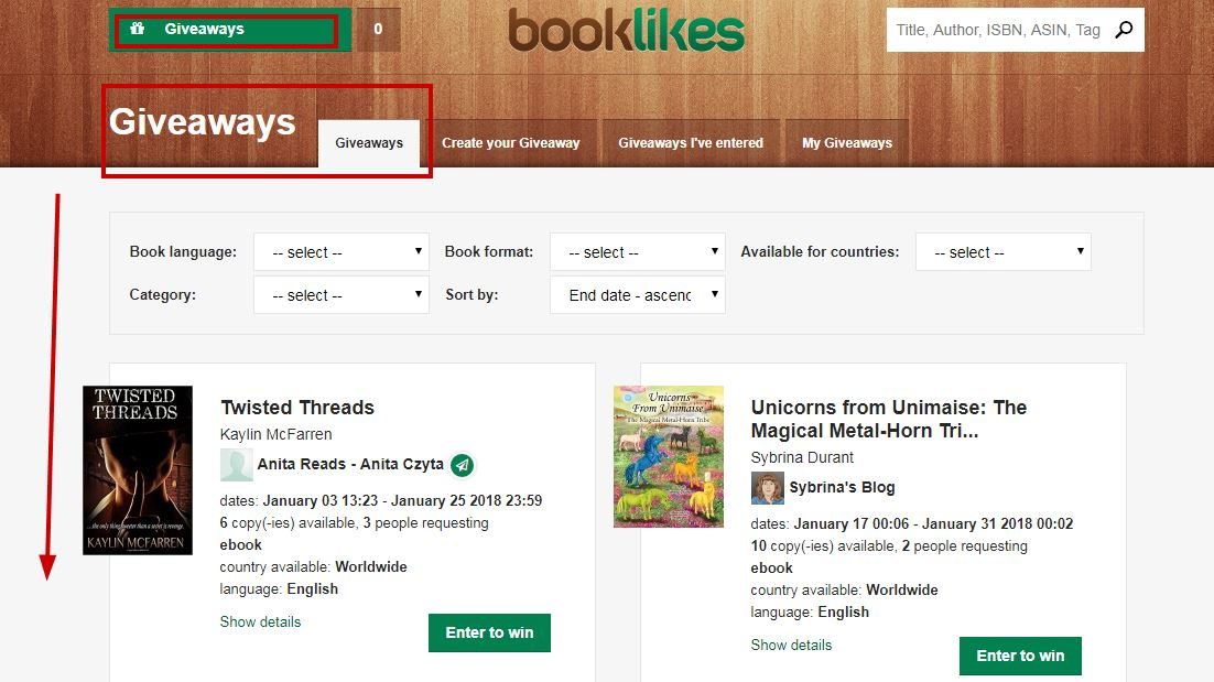 How to enter giveaways on BookLikes - BookLikes
