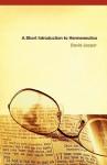 A Short Introduction to Hermeneutics - David Jasper