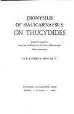 On Thucydides - Dionysius of Halicarnassus, W. Kendrick Pritchett