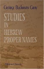Studies in Hebrew Proper Names - G. Buchanan Gray