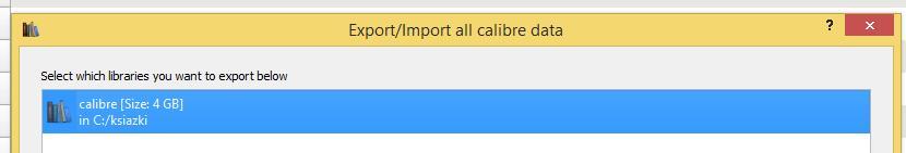 Wybór lokalizacji biblioteczki calibre