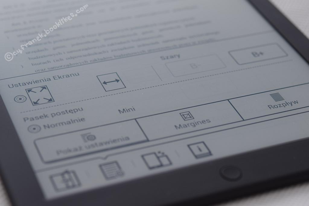 Menu formatowania pliku PDF na czytniku Icarus Illumina XL