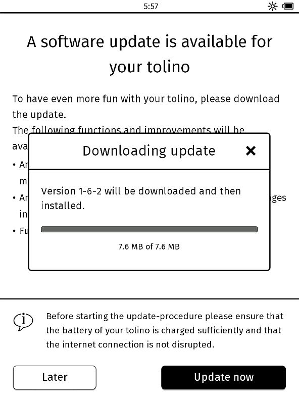 Aktualizacja firmware w Tolino Vision 2