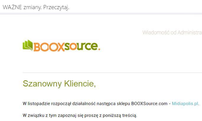 Likwidacja księgarni Booxsource